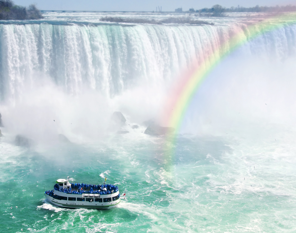 Spectacular,Rainbow,Near,Tourist,Boat,At,Niagara,Falls